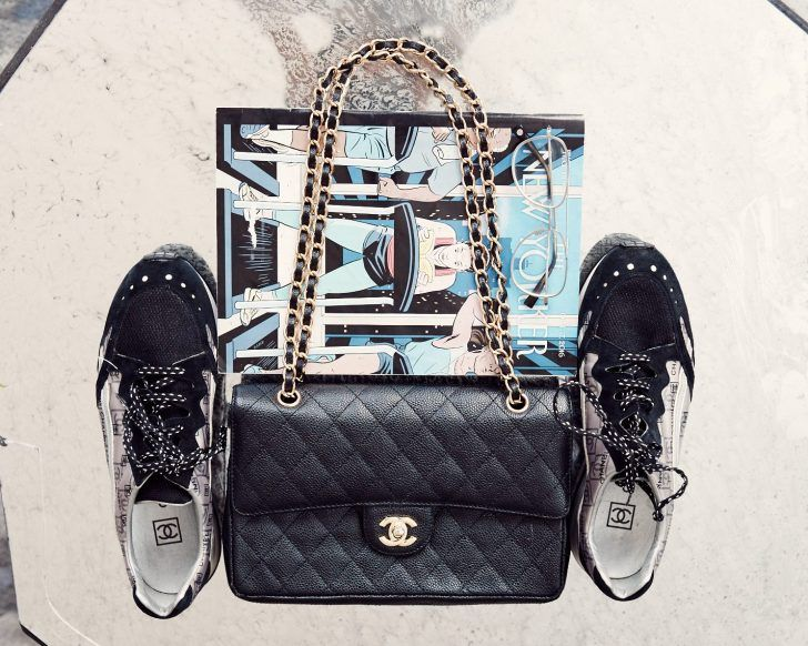 Inside Refinery29 s Fashion Market Editor s Closet    Small structured  black Chanel bag with Chanel sneakers  43078cca9f337