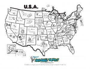 Usa Map Coloring Page States And Capitals Teaching Geography