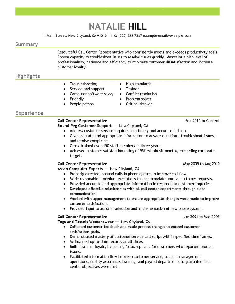 Call Center Representative Customer Service Resume Example Emphasis