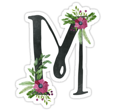 Monogram M With Floral Wreath Sticker By Helga Wigandt In 2019