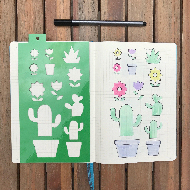 a5 planner stencil cactus flower plant planner icons reusable