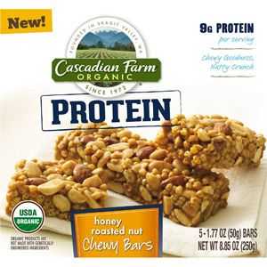 Cascadian Farm Organic Protein Honey Roasted Nut Chewy Bars, 1.77 oz, 5 count @ Walmart
