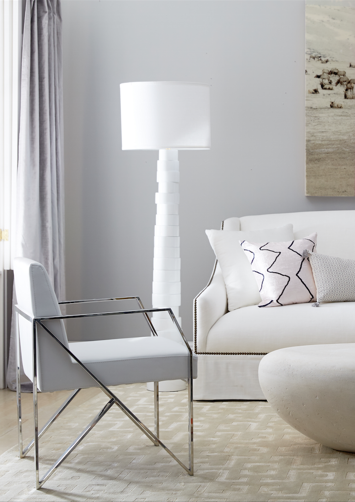 Love The Shiny Metal Frame Gray Accent Chair Paired With The All