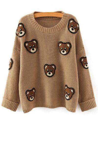 Bear Pattern Scoop Neck Long Sleeve Jumper KHAKI: Sweaters | ZAFUL