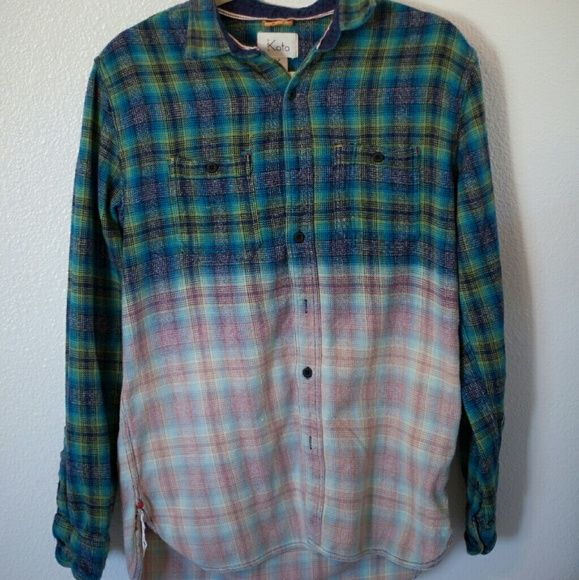 Koto Flannel (Urban Outfitters) Slightly oversized ombr? flannel Koto Tops Button Down Shirts