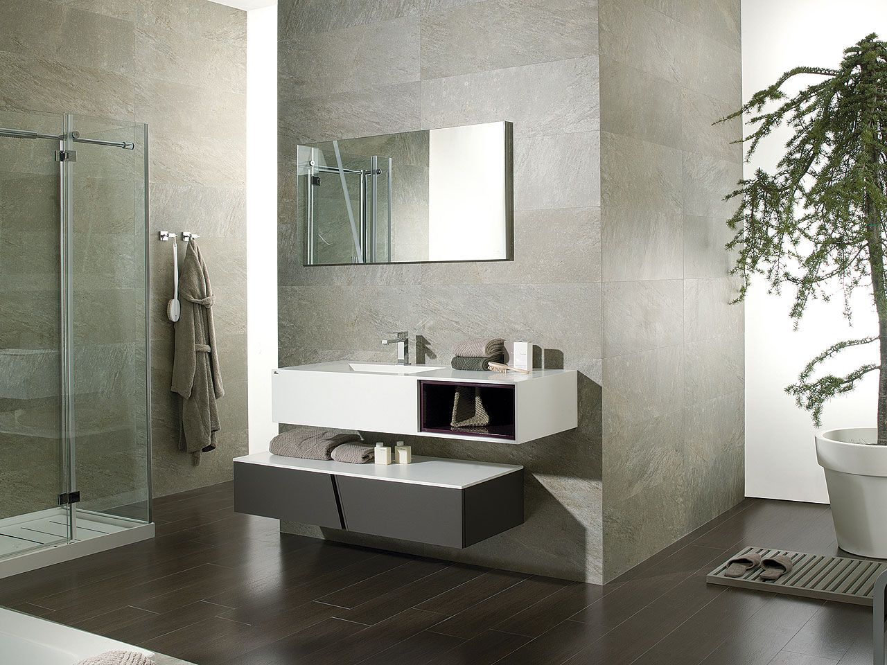 Wind Roble Cacao / KRION® / Vino Brillo | Bathroom decoration ideas ...