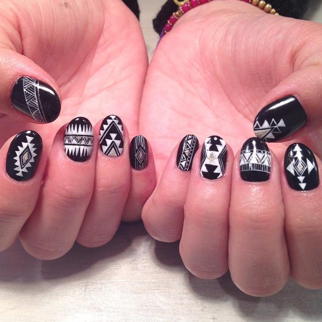 Black And White Aztec Design Nail Art By Thenailbarsydney Http