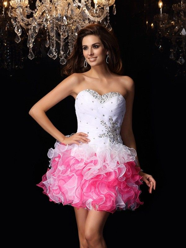 ca3227bd92a A-Line Princess Sweetheart Ruffles Sleeveless Short Organza Cocktail Dresses  - Homecoming Dresses - Hebeos Online