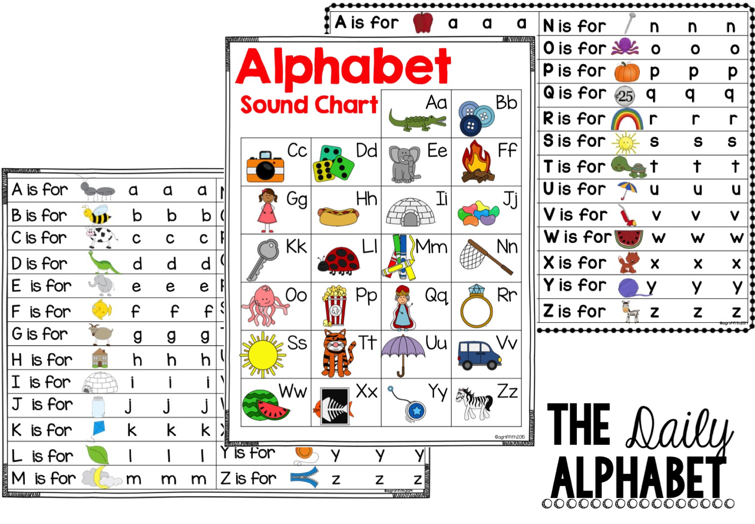 Freebie! ABC Phonics & Sound Chart. Each includes a B&W version ...