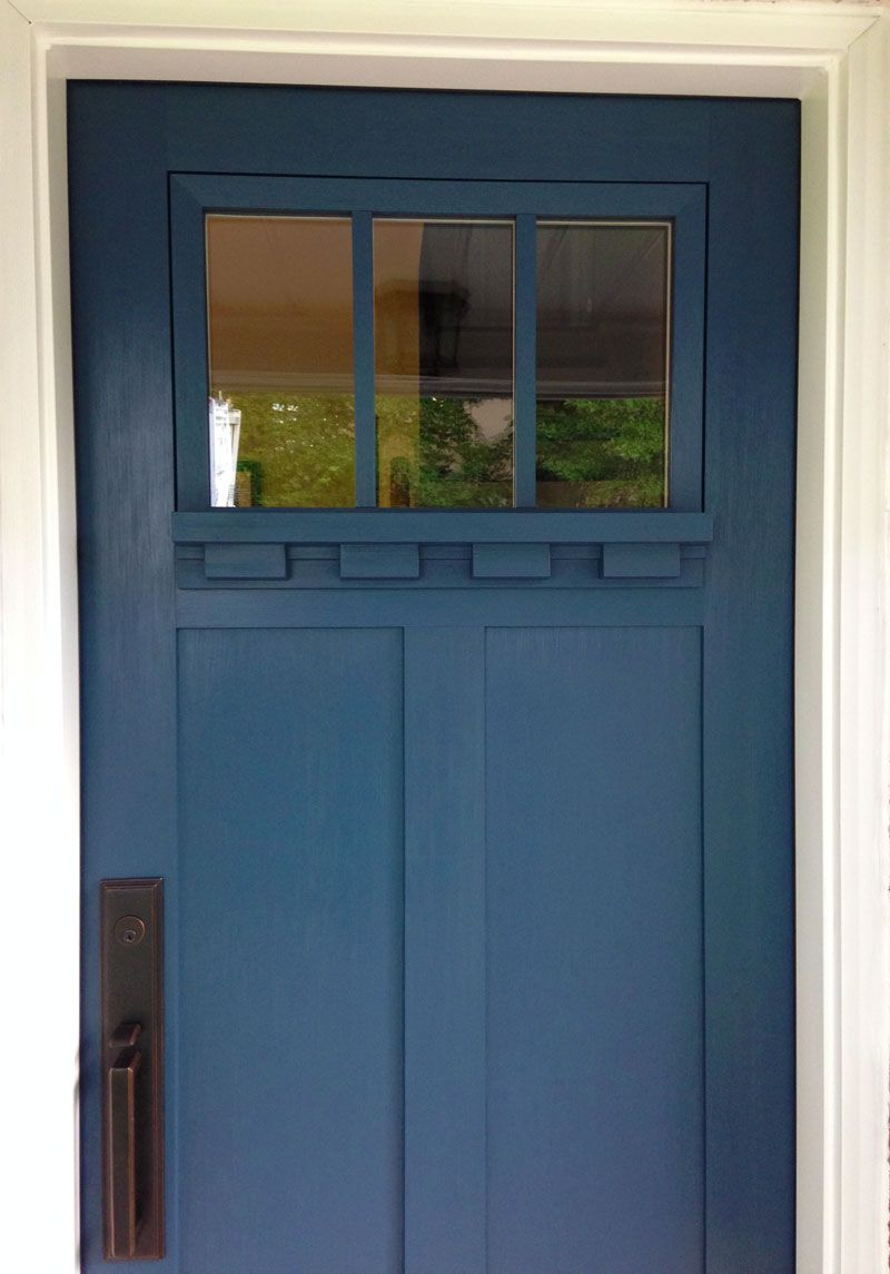 Provia Signet Entry Door In Enzian Blue With Dentil Shelf