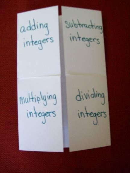 Integers Foldable Education Math Lessons Math Classroom