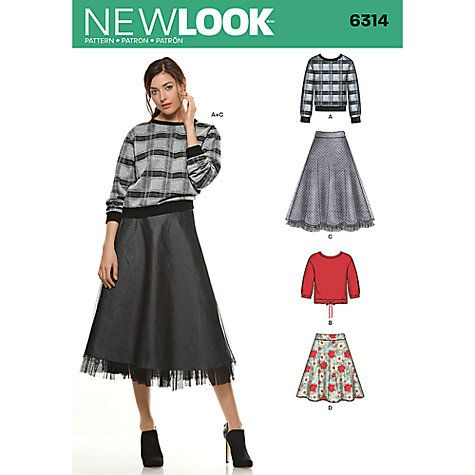 Buy New Look Women\'s Tops & Skirts Sewing Patterns, 6314 Online at ...