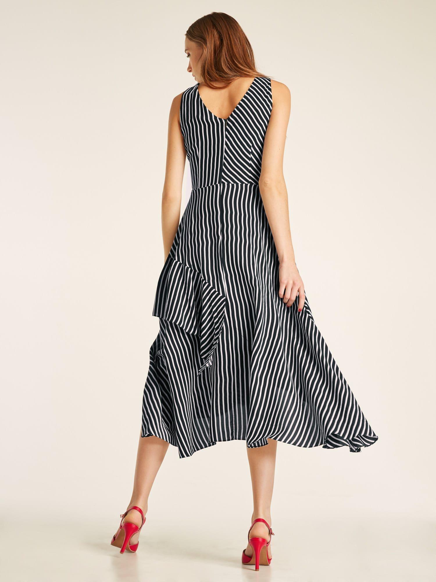 kleider schwarz-weiß heine damen kleid mit gürtel