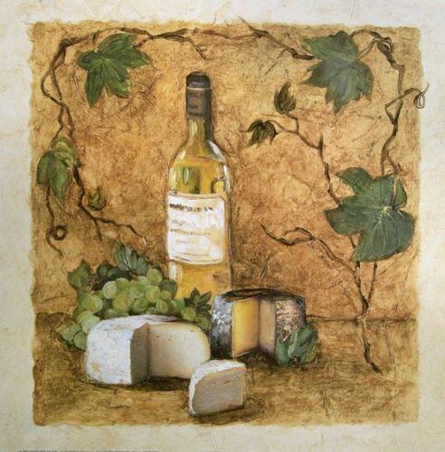 Charlene-Olson-Chardonnay-Cheese-Fertig-Bild-30x30-Wandbild-Kueche ...