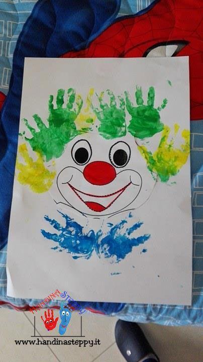 Photo of Clown fatto dal piccolo Vincenzo   Impronte Mani   Lavoretti bambini