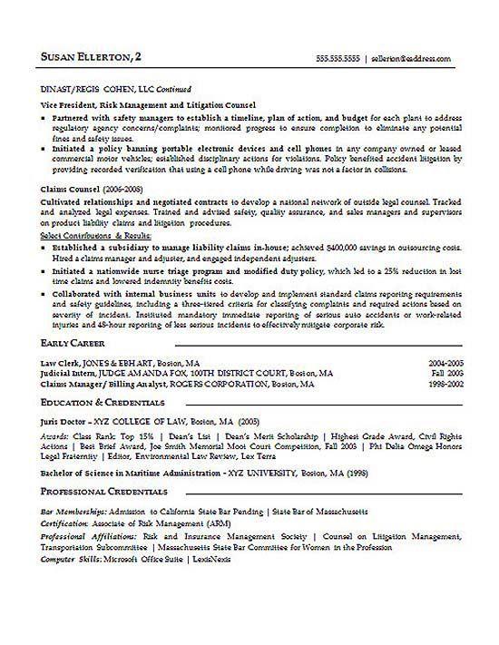 sample litigation attorney resume