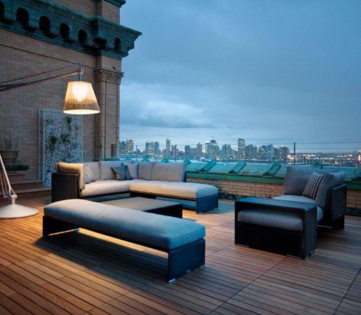 Dailyproductpick The Slim Line Collection By Dedon Embodies Designer Jean Marie Massaud S Trademark Rooftop Patio Design Rooftop Terrace Design Terrace Design
