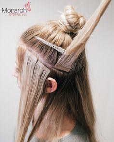 Monarch Extensions Top Knot Tape In Method Diagonal Back Section Haarteile Frisuren Mit Haarverlangerung Haarverlangerungspflege