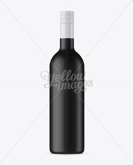 Black Matte Wine Bottle Mockup Front View In Bottle Mockups On Yellow Images Object Mockups Green Glass Bottles Bottle Mockup Bottle