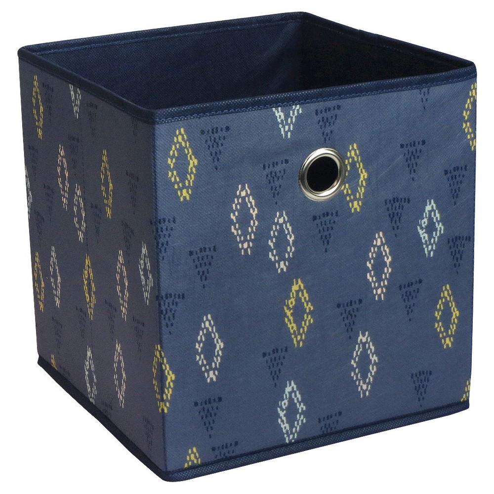 Fabric Cube Storage Bin 11   Indigo Geo Pattern   Room Essentials, Indigo  Pattern