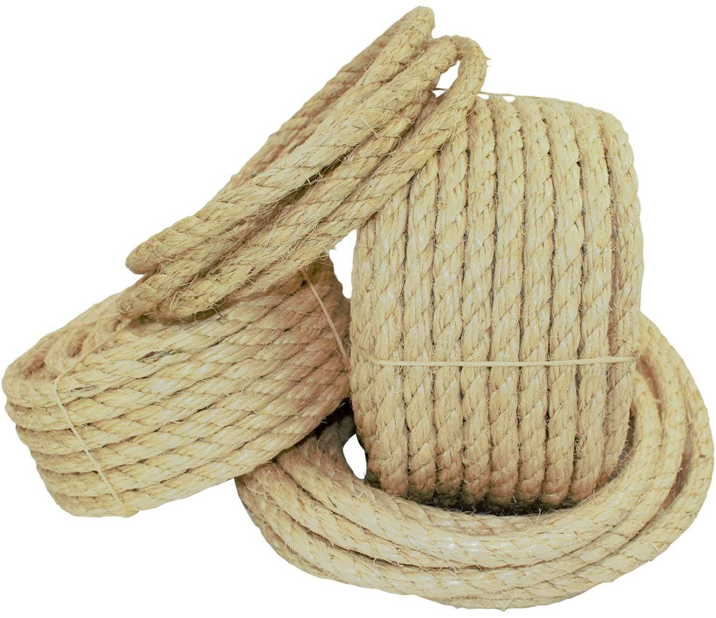 Twisted Sisal Rope 1 2 Inch Sgt Knots All Natural Fibers Moisture Weather Resistant Marine Decor Projects Cat Scra In 2020 Sisal Rope Natural Fibers Sisal