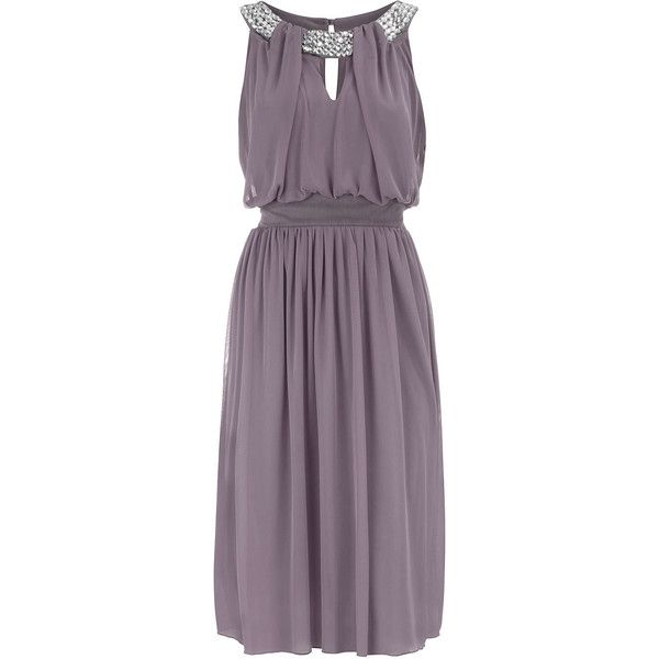 Knitted chiffon dress with waistband and embellished gem neckline.