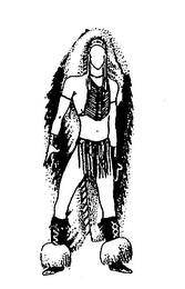 The mark consists of a three-dimensional Indian costume. The drawing is a two-dimensional representation of the mark.