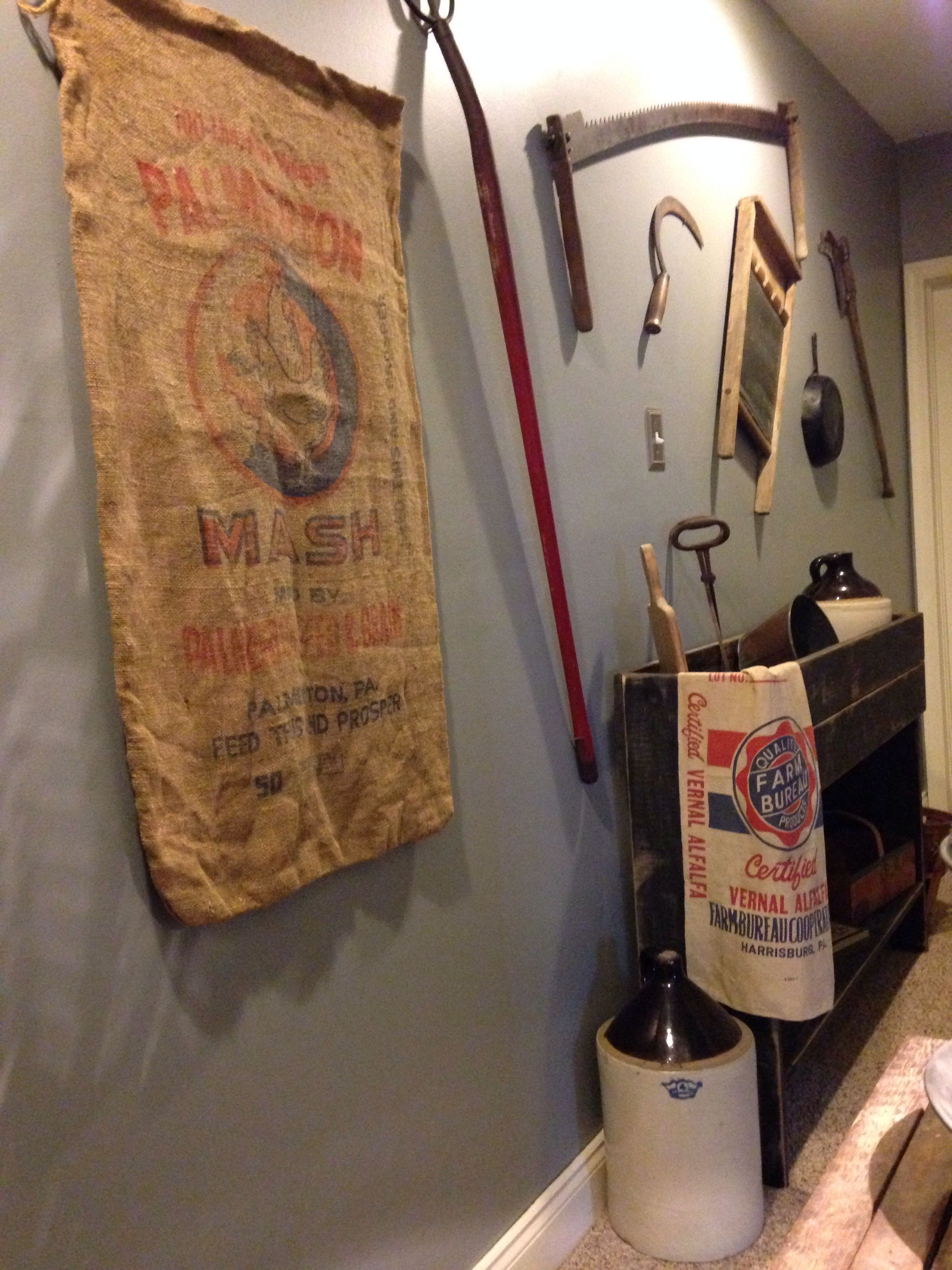 Old Feed Bags , Jugs And Handmade Dry Sink.