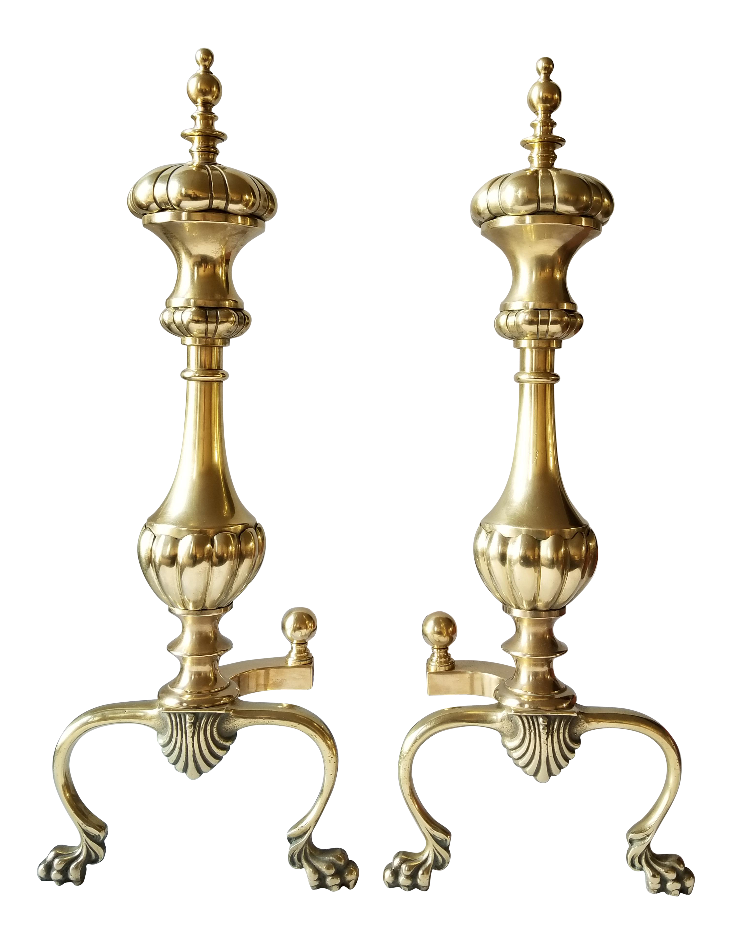 mid century english style large brass andirons a pair pinterest