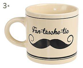 3 Mugs PERU céramique, crème et noir - H9