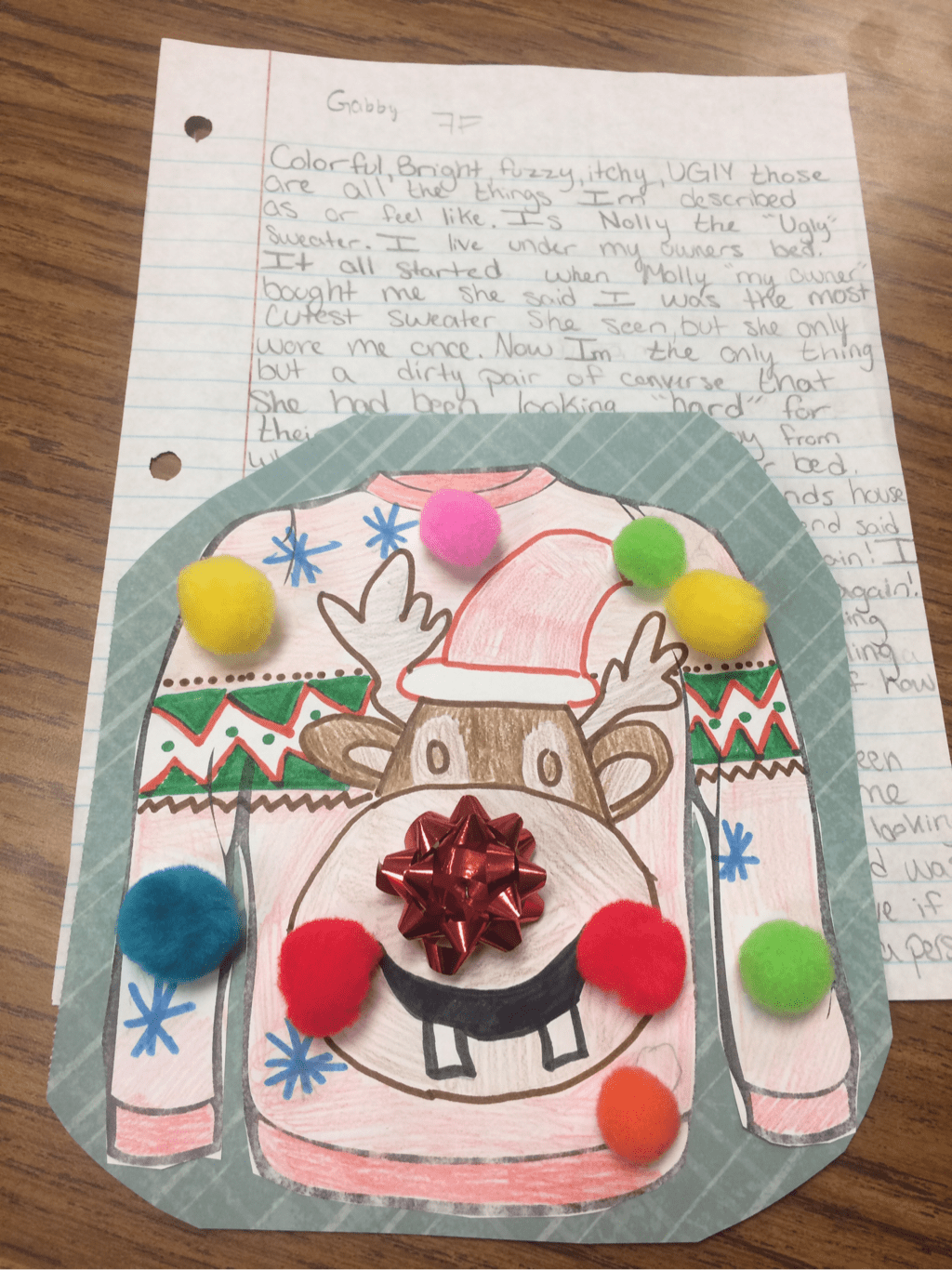 Ugly Christmas Sweater Project. 7th graders created ugly Holiday sweaters and then wrote from the perspective of their sweater!