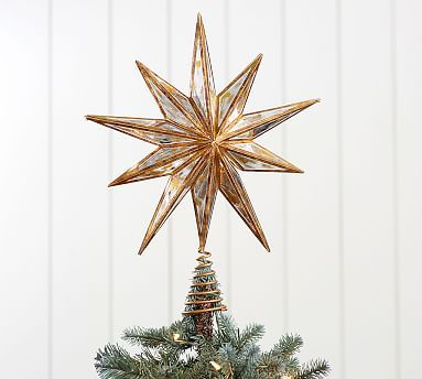 Mirrored Star Tree Topper, Gold - Large Pinterest Star tree