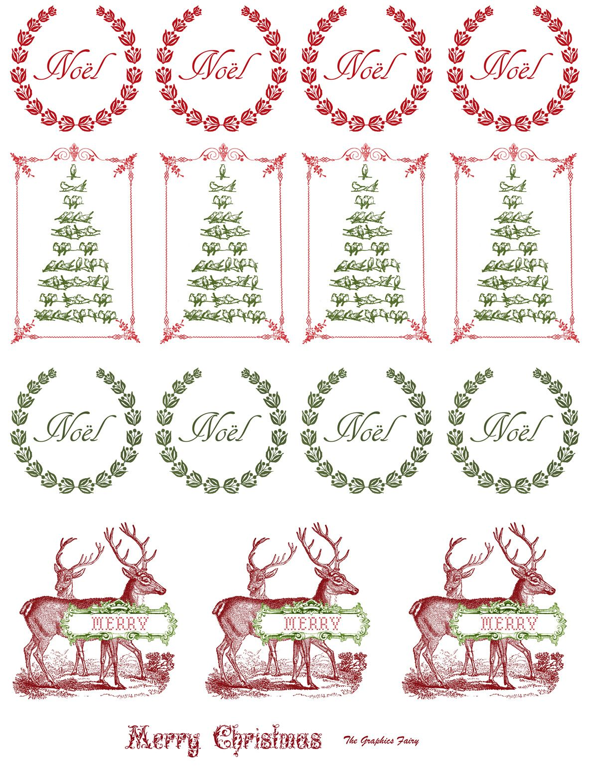 Free printable vintage christmas cards - Free Printable Vintage Christmas Stickers From The Graphic Fairy Print On Our Full Sheet