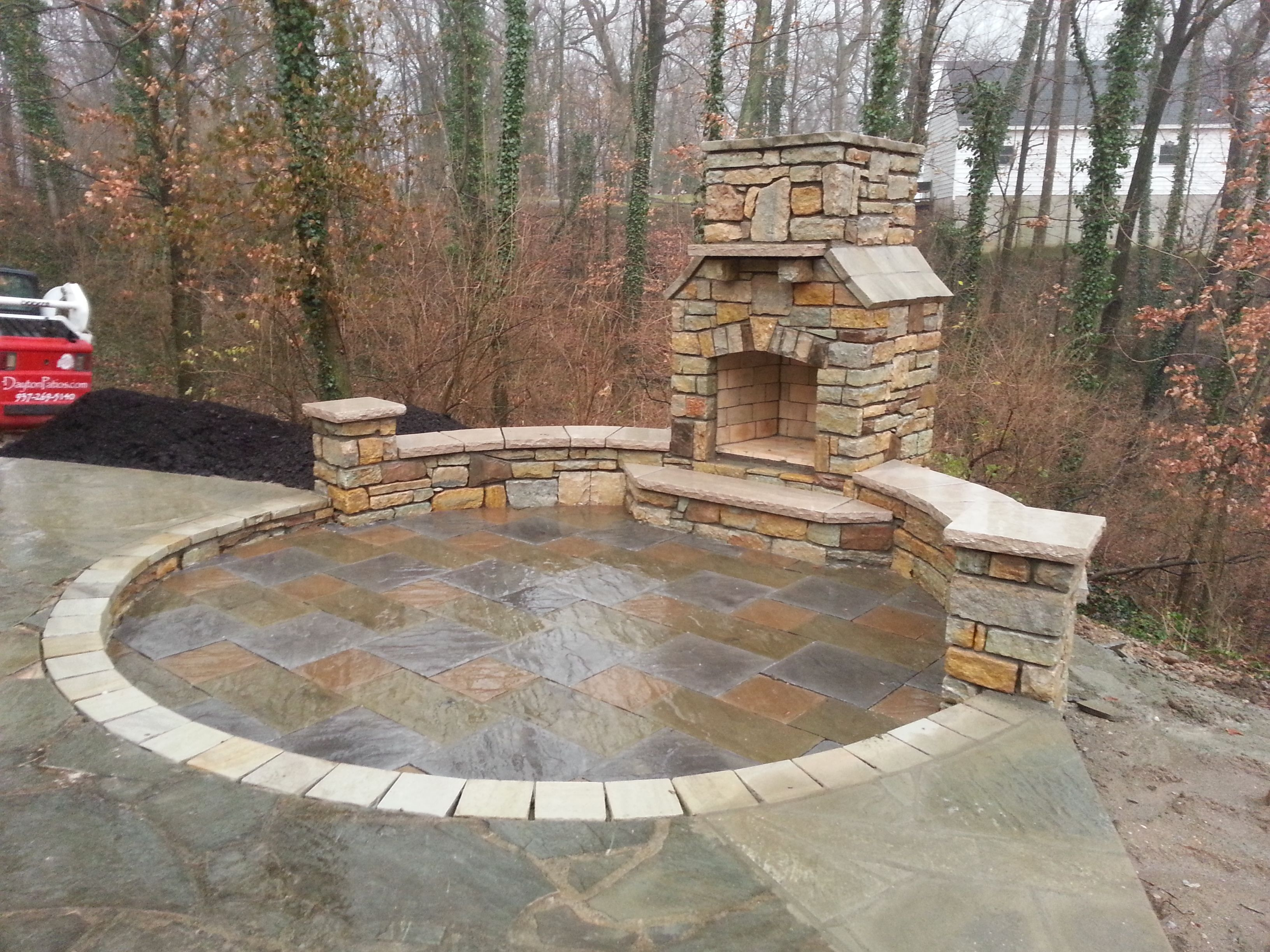 Paver Patio Natural Stone Seating Wall Outdoor Fireplace Reading Rock Brick