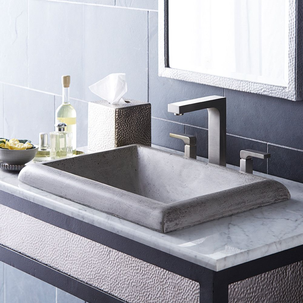 Montecito Stone Handmade Rectangular Drop In Bathroom Sink Rectangular Sink Bathroom Drop In Bathroom Sinks Concrete Bathroom