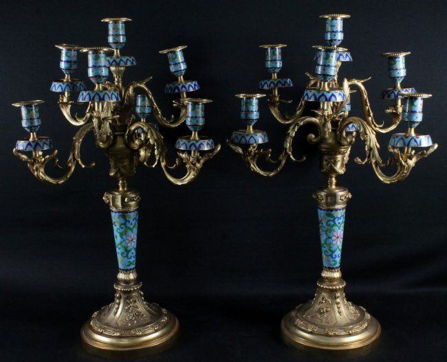 PAIR OF FRENCH DORE BRONZE AND CHAMPLEVE 7 LIGHT : Lot 600H