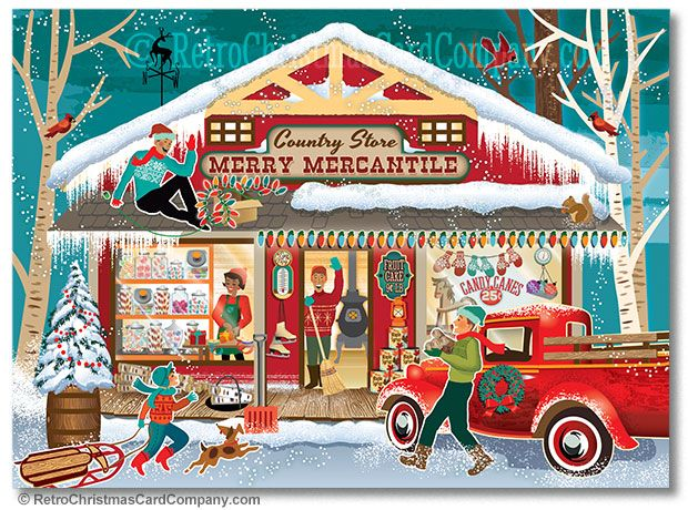 Pin On Retro Christmas Cards For