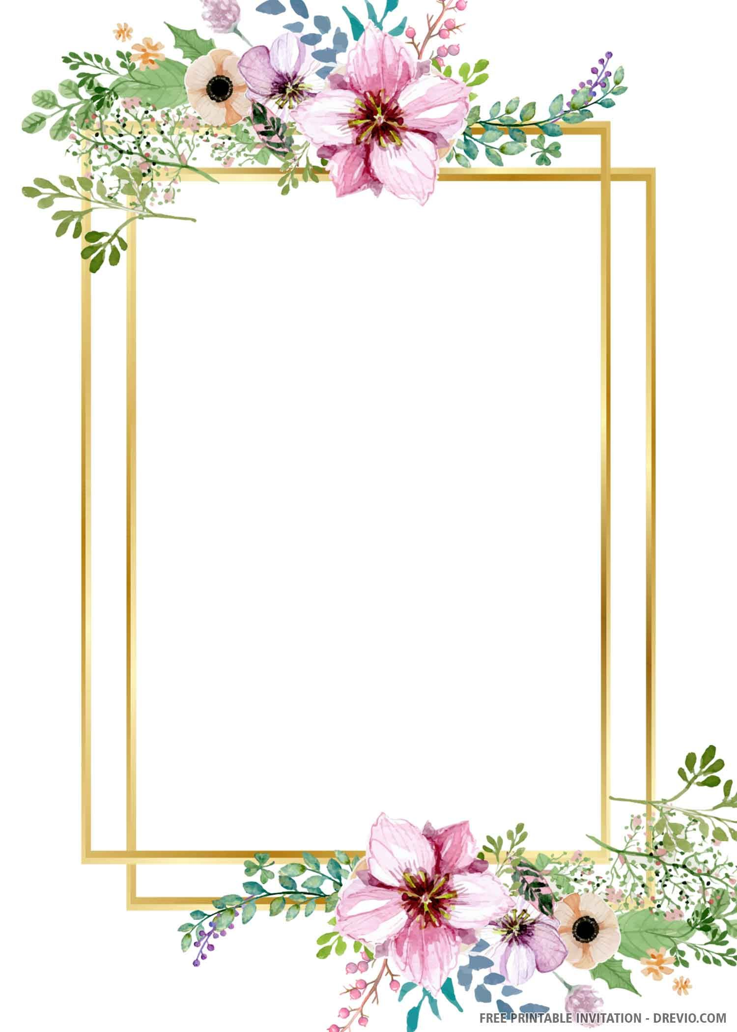 free printable gold wedding invitation