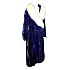 1920's Deep Prussian Blue Silk Velvet Coat with White Fox Collar