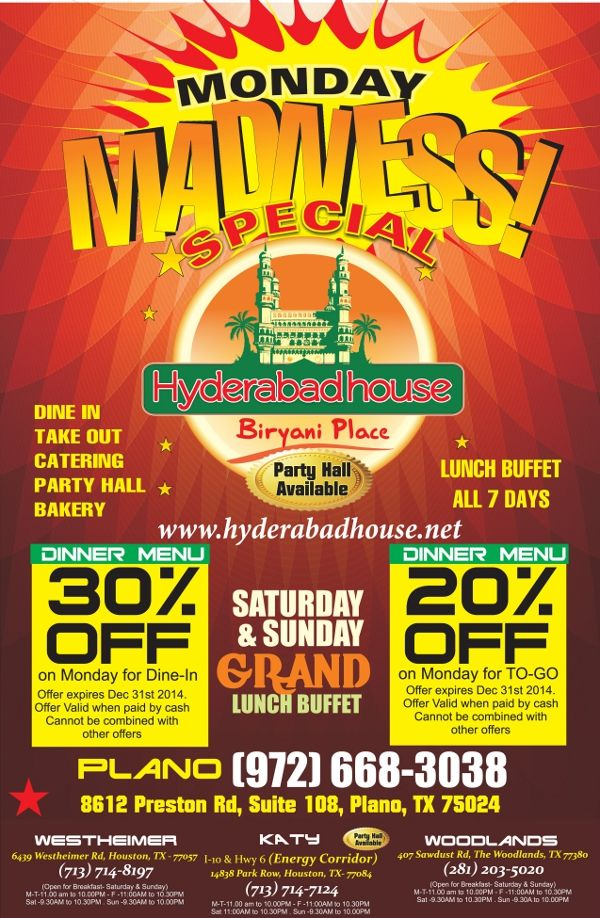 Monday Madness Specials Hyderabad House Biryani Place