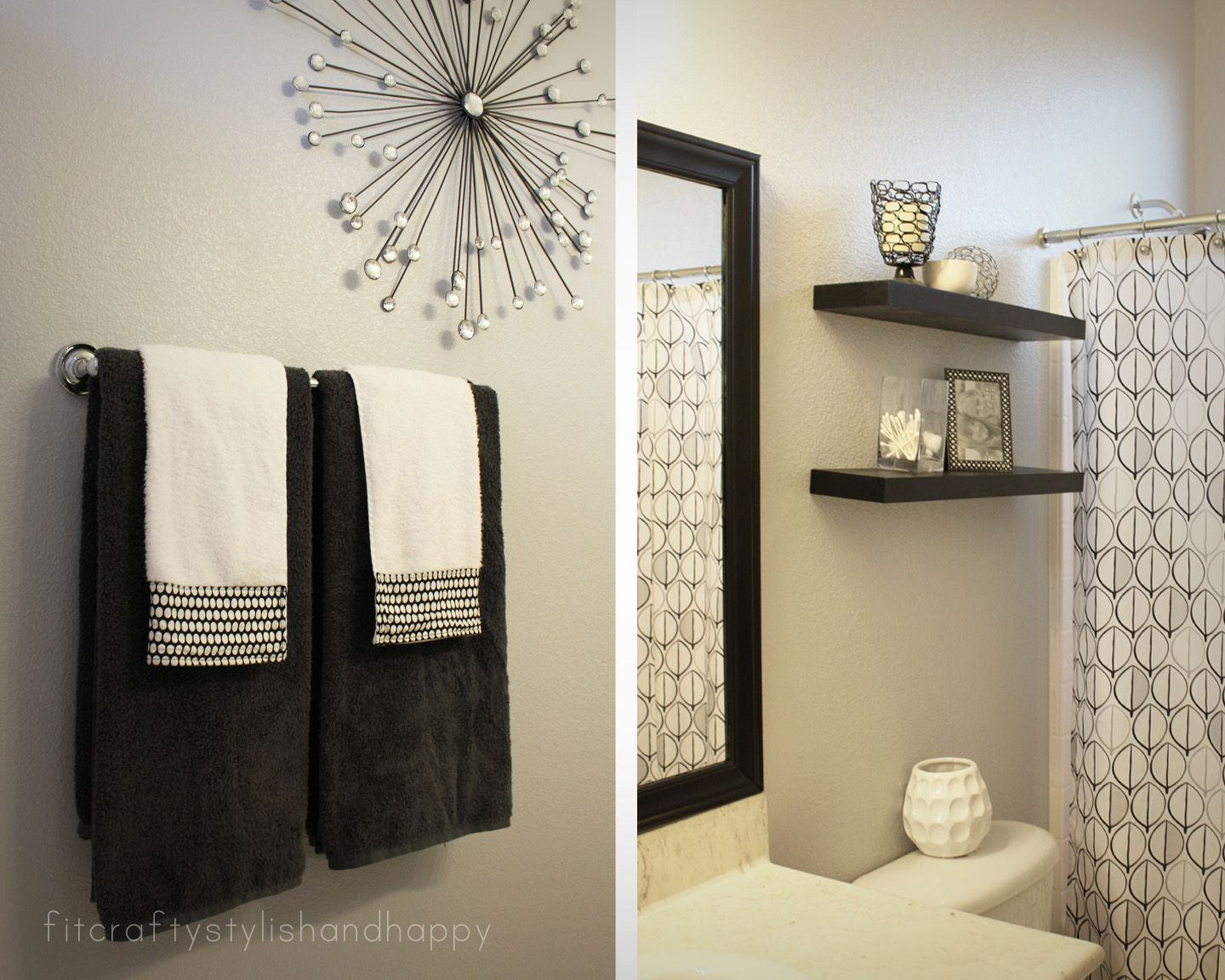 Fit Crafty Stylish And Happy Guest Bathroom Makeover Spare - Black and white bathroom towels for bathroom decor ideas