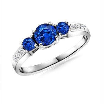 Angara Natural Sapphire Three Stone Engagement Ring in Platinum P0eC2p49n8