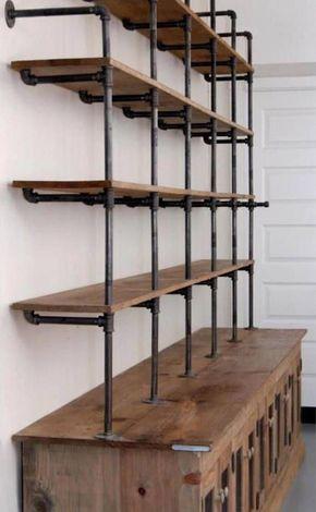 The Hemingway Wall Mount Bookcase Reclaimed Wood Bookshelf Pipe Wall Bookshelf Shelf Built In Industrial Shelving Store Display