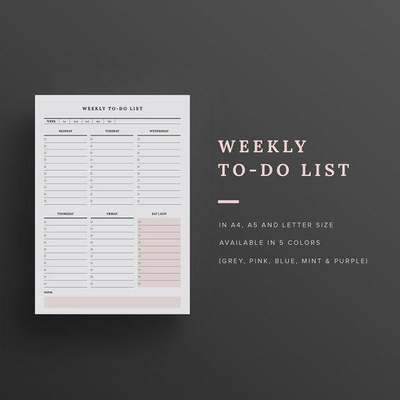 Settimanale per fare la lista  stampabile  di TheRainJournal