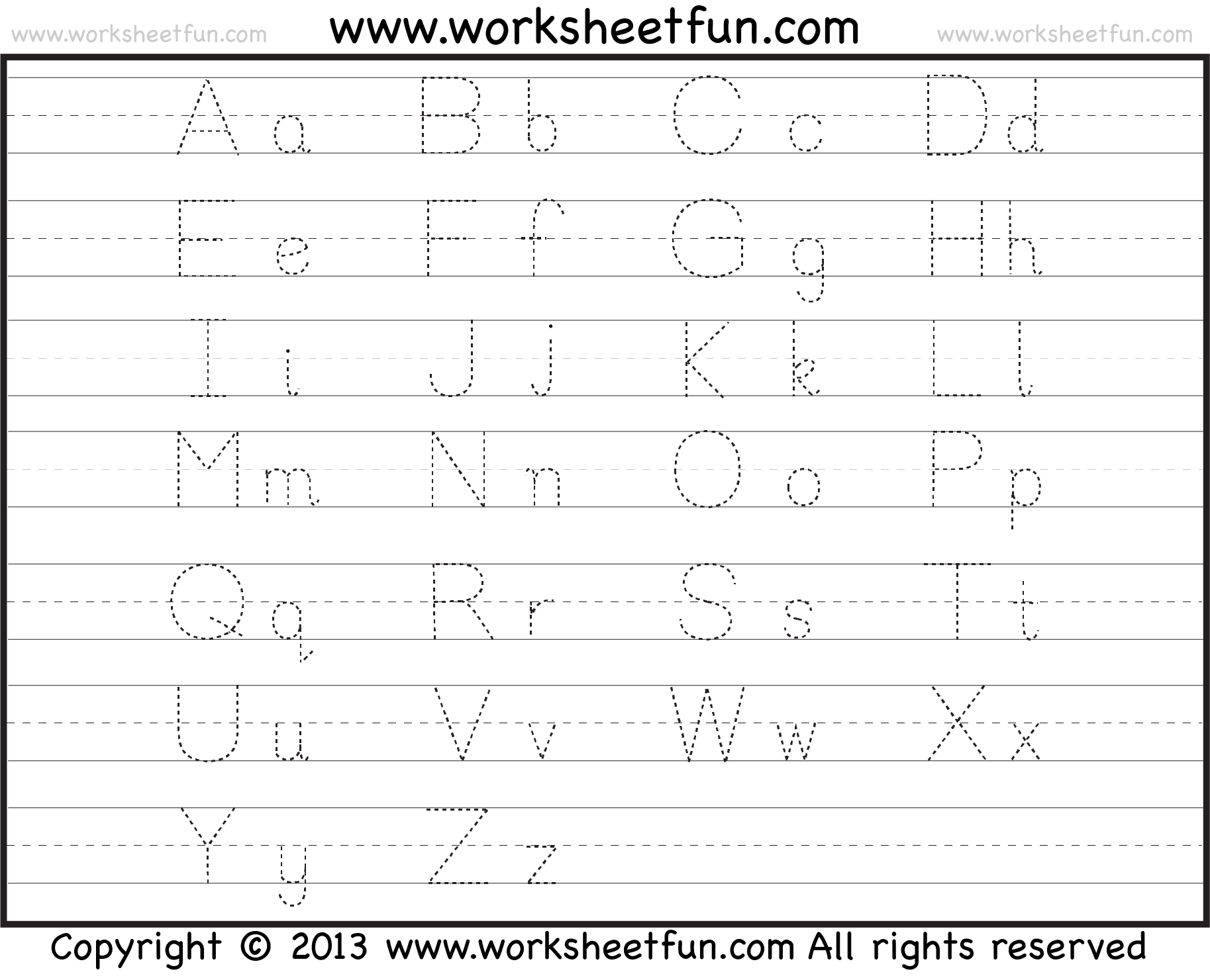 Worksheet Tracing Alphabeth