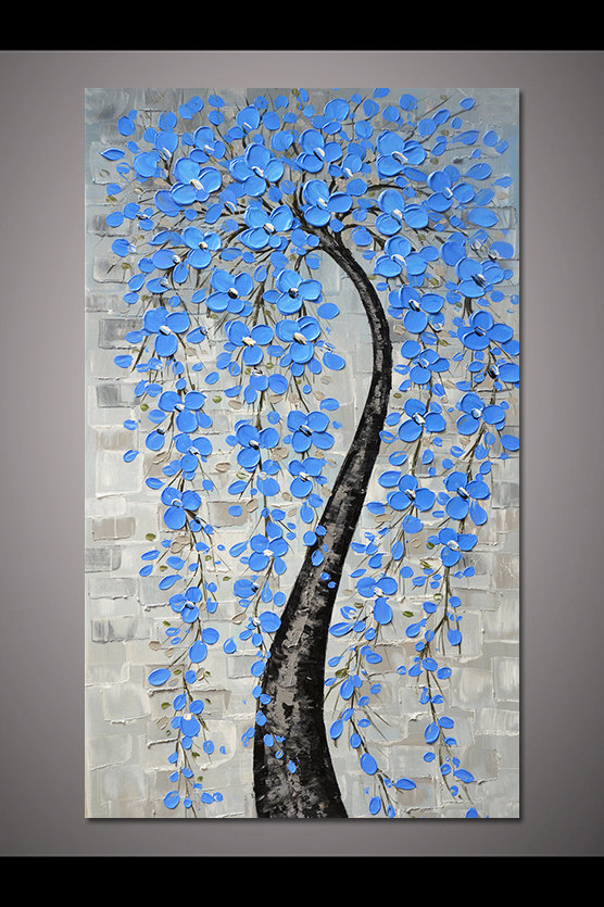 Hand-painted light blue flower tree wall art picture for living room home decor thick acrylic palett #picturewallideas