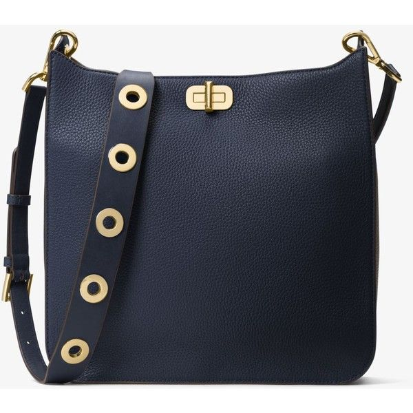 MICHAEL Michael Kors Sullivan Large Leather Messenger (€150) ❤ liked on Polyvore featuring bags, messenger bags, flat bags, studded bag, genuine leather messenger bag and michael michael kors