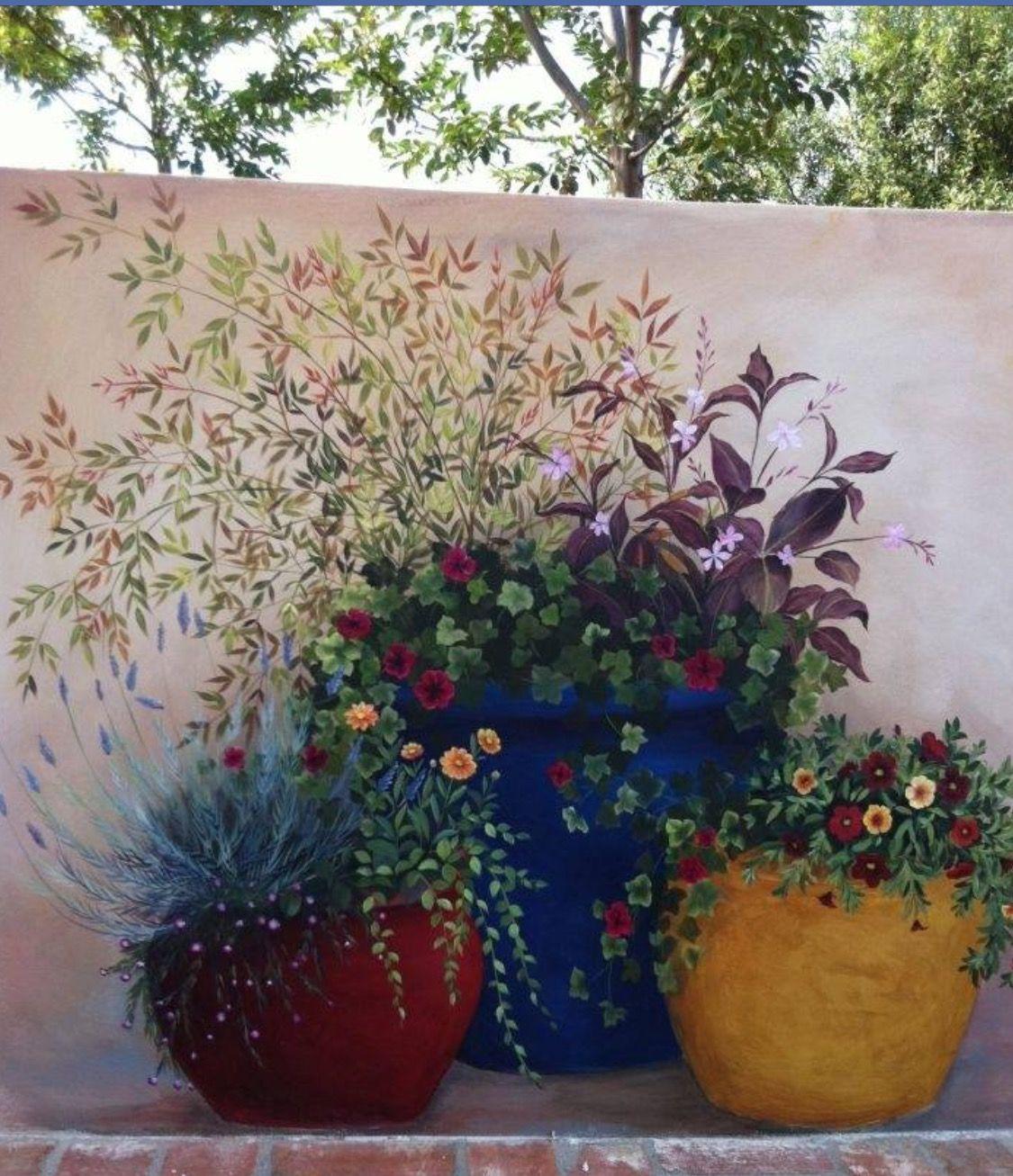 Garden wall painting gardening flowers pinterest walls