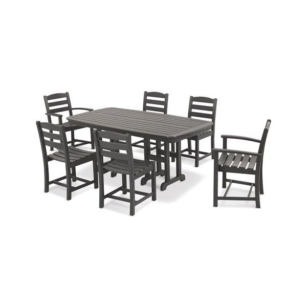 POLYWOOD La Casa Cafe Casual Patio Dining Set Six Chairs + One ...