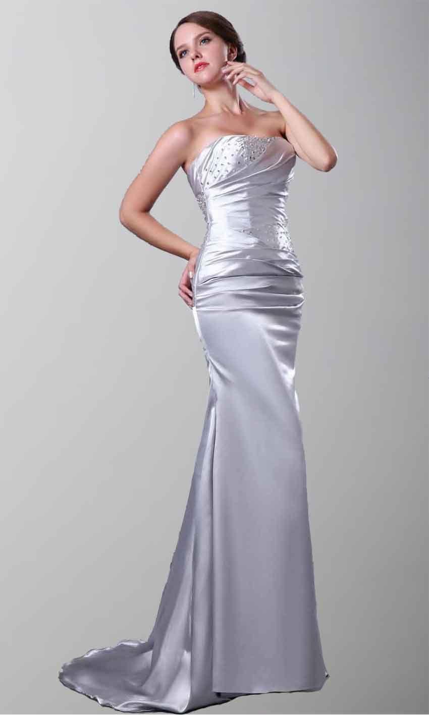 Strapless Satin Mermaid Long Grey Formal Evening Dresses Ksp263